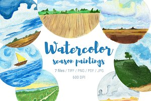 7 watercolor nature cliparts