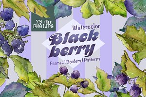 Blackberry JPG watercolor set