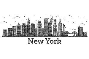 Engraved New York USA City Skyline