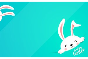 Easter bunny hide at the corner. Cute funny rabbit wish happy Easter holiday