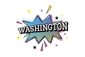 Washington USA. Comic Text in Pop