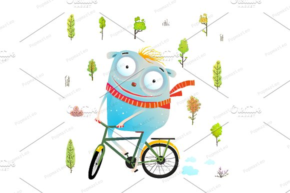 Character With Bicycle Riding