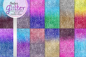 Ombre glitter seamless patterns