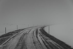 Dark Snowy Road in Iceland