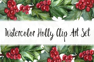 Watercolor Holly Clip Art Set