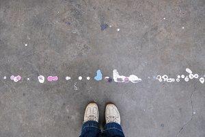 Art Studio Floor with Paint Splatter