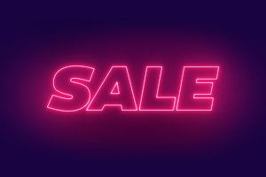 Neon Sale Glowing Text Banner