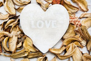 Wooden heart with the word love