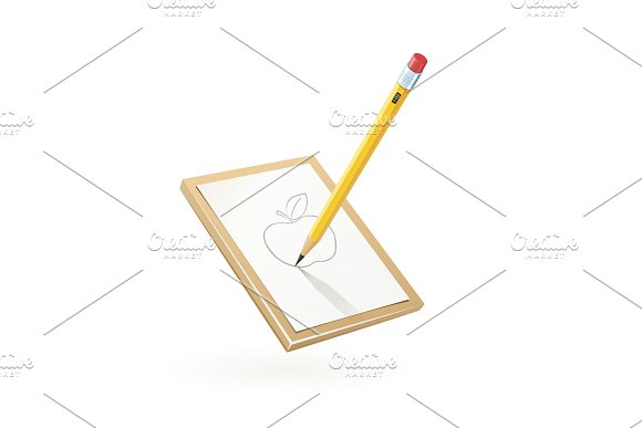 Pencil Draw Apple At White Paper