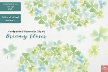 Watercolor Clipart Dreamy Clover PNG