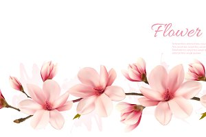 Background with pink magnolia