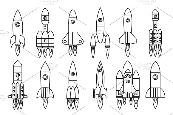 Lineart Space Rocket Start Up Launch