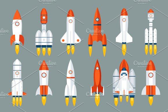 Space Rocket Start Up Launch Symbol