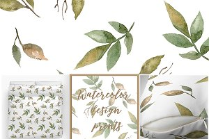 Watercolor branches pattern