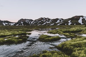 River Landscape in Iceland with Moss