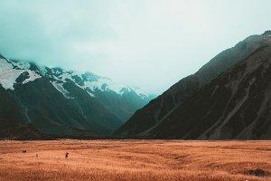 Orange and Teal Mountain Landscape