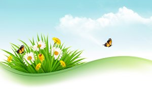 Nature background with grass. Vector
