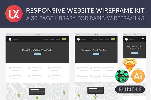 Wireframe Kits: UX Kits - Responsive Website Wireframe Kit