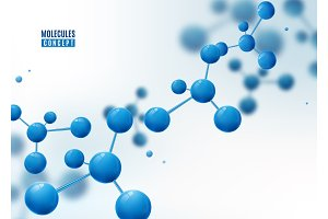 Molecule background. Atoms. Molecular structure with blue connected particles