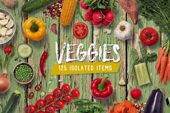 Veggies - Isolated Food Items in Product Mockups