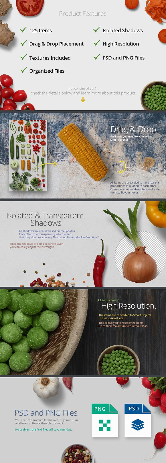 Veggies - Isolated Food Items in Product Mockups - product preview 2