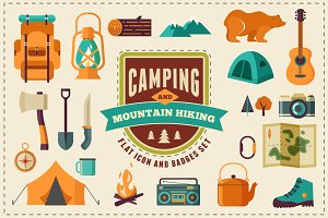 Camping & Hiking flat icon set