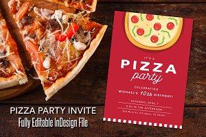 Red Pizza Party Celebration Invite