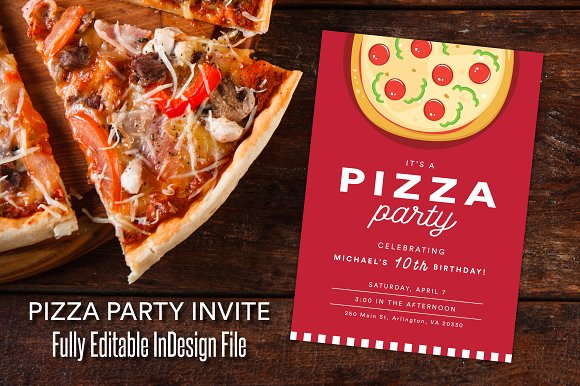 red pizza party celebration invite invitation templates creative