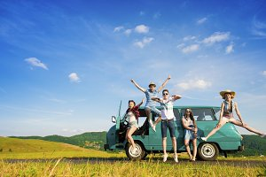 Young hipster friends on road trip