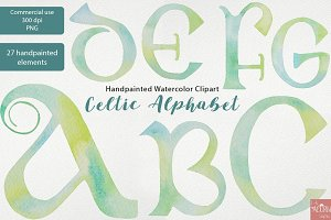 Watercolor Clipart Celtic Alphabet