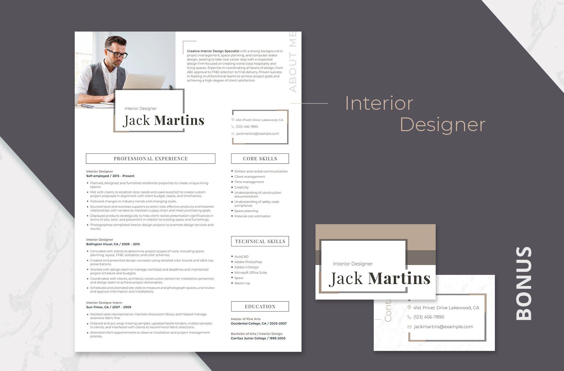 Easy-to-Edit Resume: Interior Design