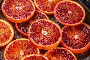 Blood red orange slices
