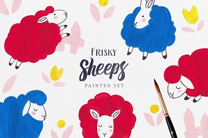 Frisky Sheeps Patterns and Cliparts