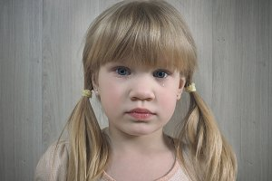 Little girl. Child tear. Emotional portrait