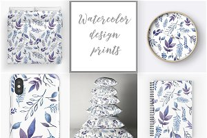 Watercolor  botanical  patterns