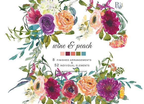 40% OFF Watercolor Wine Peach