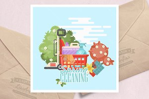 Spring cleaning vector illustration
