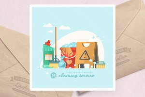 Cleaning service vector illustration