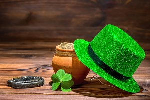 St Patricks day concept with pot
