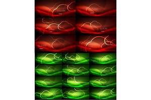 Neon glowing cloud computing concept light abstract backgrounds collection, mega set of energy magic concept backgrounds