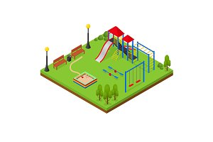 Outdoor Playground Isometric View