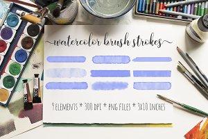 Blue Watercolor Brush Strokes Kit