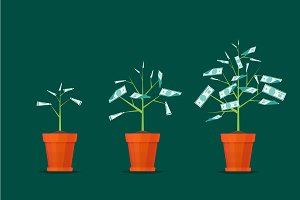 Stage Growth of a Tree Money. Vector