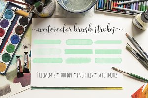 Mint Watercolor Brush Strokes Kit