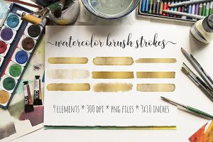 Gold Foil Watercolor Brush Strokes