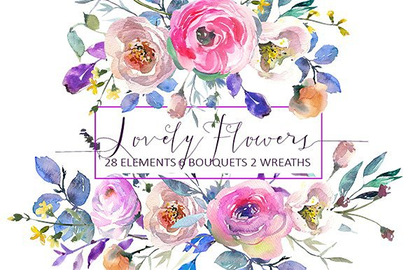 Watercolor Floral Bundle-95% off in Illustrations - product preview 38