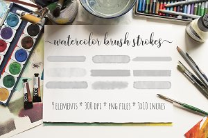 Gray Watercolor Brush Strokes Kit