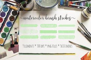 Green Watercolor Brush Strokes Kit