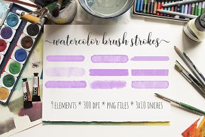 Violet Watercolor Brush Strokes Kit
