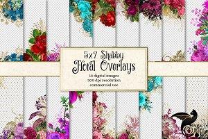 5x7 Shabby Floral Overlays